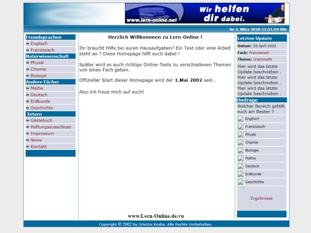 Screenshot Lern-Online im Mai 2002