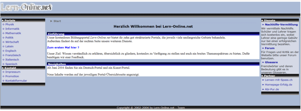 Screenshot Lern-Online im Mai 2004