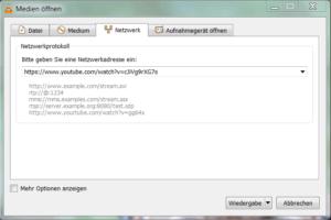 Netzwerkadresse im VLC Player eingeben