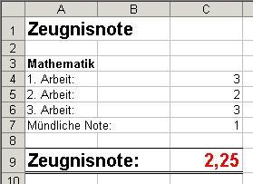 tabellenkalkulation excel formeln